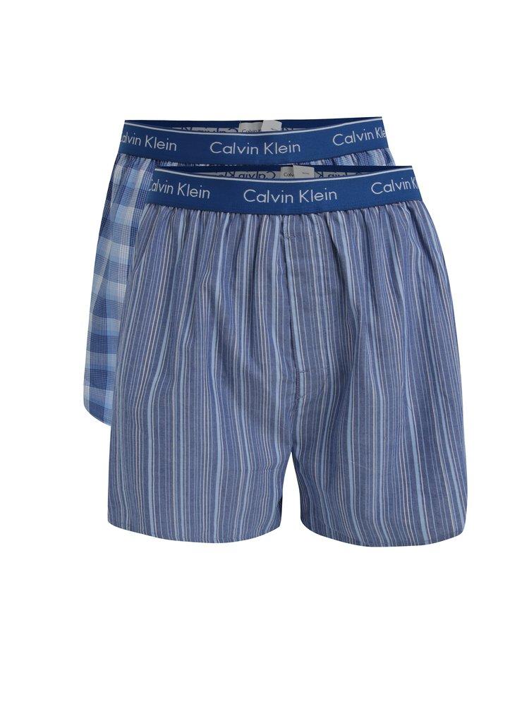 Set de 2 perechi de boxeri albastri cu print si logo - Calvin Klein