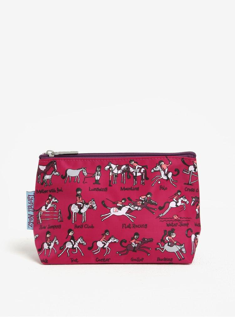 Tmavě růžová holčičí toaletní taštička Tyrrell Katz Horses