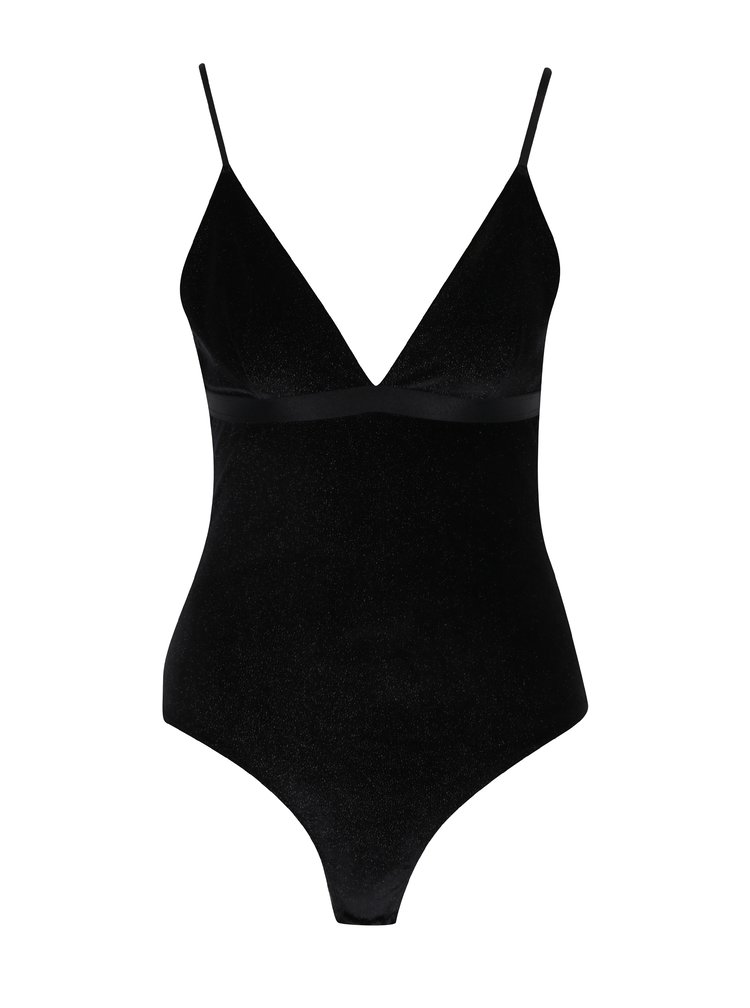 Body negru tanga cu bretele subtiri si aspect stralucitor -  Y.A.S Parkle