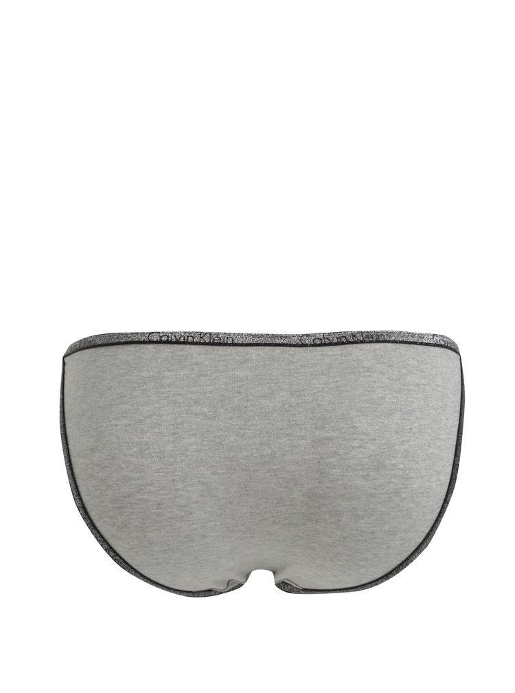 Šedý třpytivý set podprsenky a kalhotek Calvin Klein