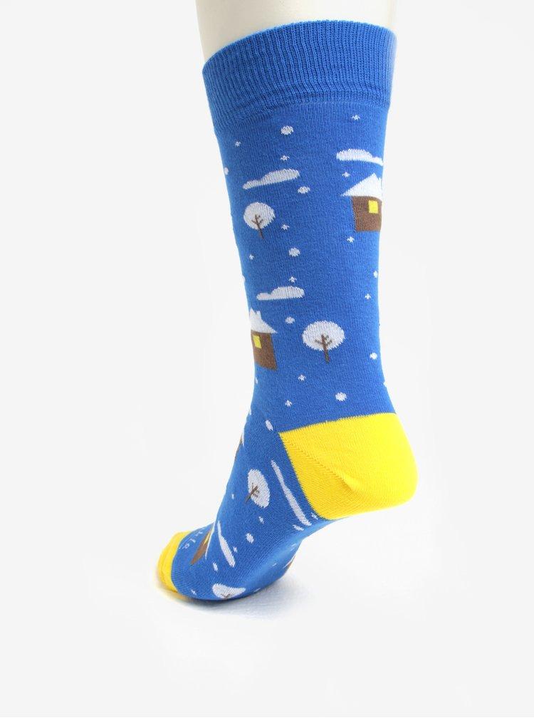 Modré unisex ponožky se zimní tématikou Fusakle Nasnežilo