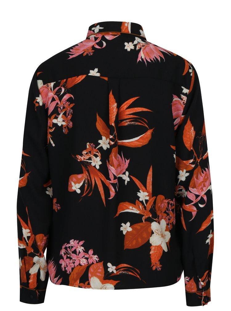 Camasa neagra cu print floral VERO MODA Aya
