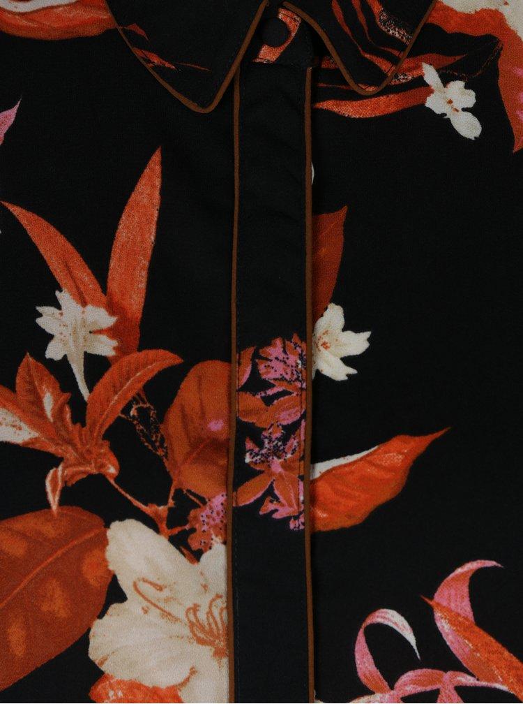 Černá květovaná halenka VERO MODA Aya
