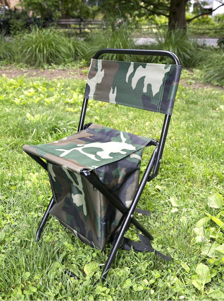 Zelené rozkladacie sedadlo s ramennými popruhmi a vreckom Kikkerland