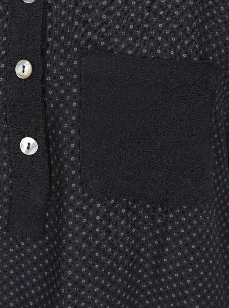 Šedá vzorovaná halenka s kapsou a knoflíky Madonna