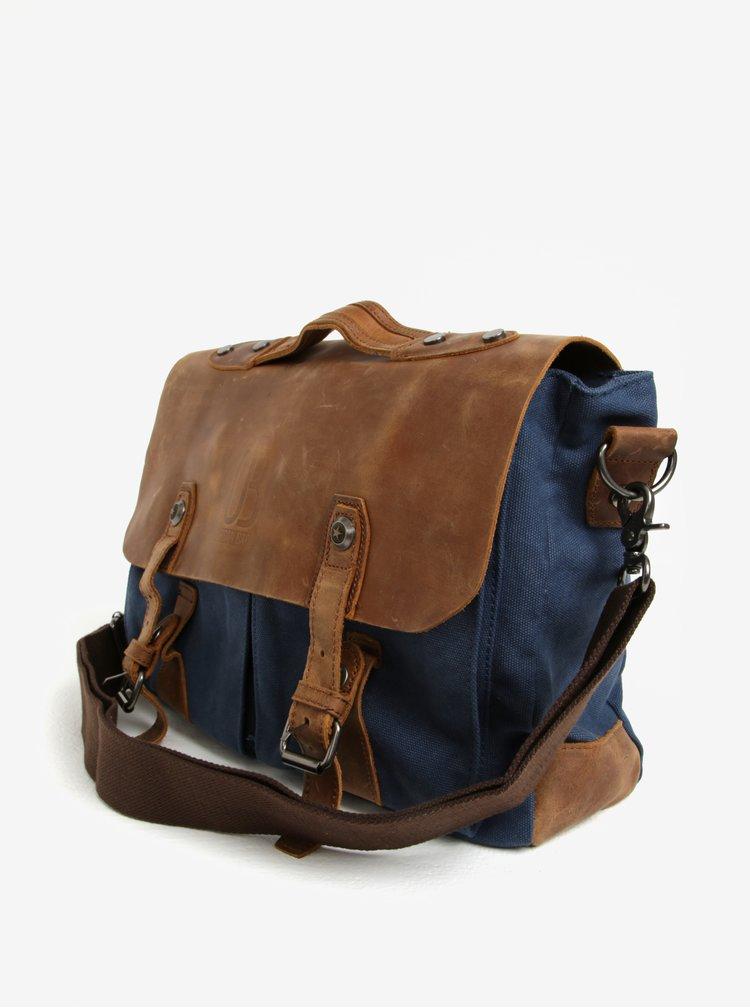 Hnědo-modrá  kožená taška Urban Bag