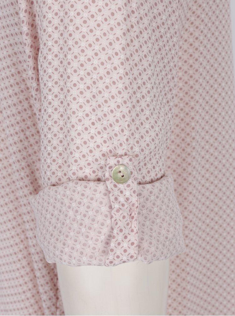 Světle růžová vzorovaná halenka s kapsou a knoflíky Madonna
