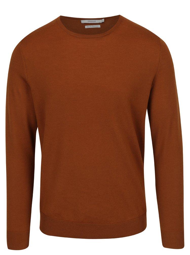 Hnědý lehký svetr z Merino vlny Jack & Jones Premium Mark