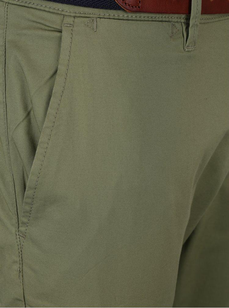 Pantaloni chino slim fit kaki cu curea maro - Selected Homme Hyard