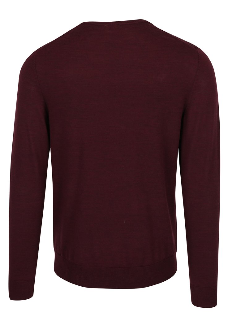 Pulover bordo din lana Merino  Jack & Jones Premium Mark