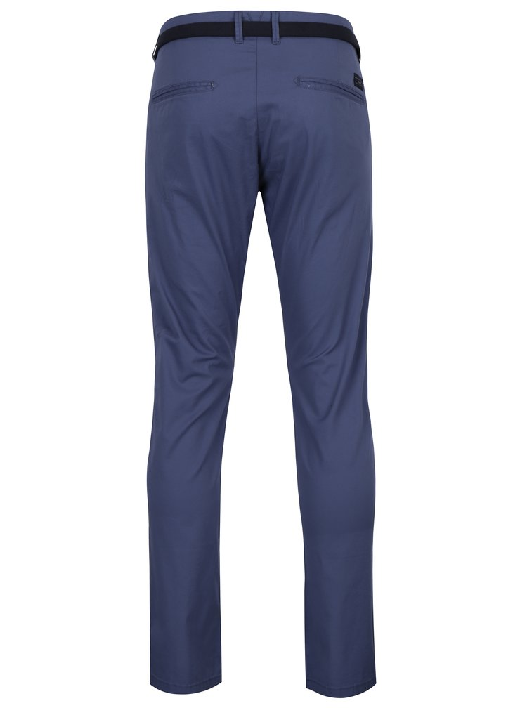 Pantaloni chino slim fit albastri cu curea maro - Selected Homme Hyard