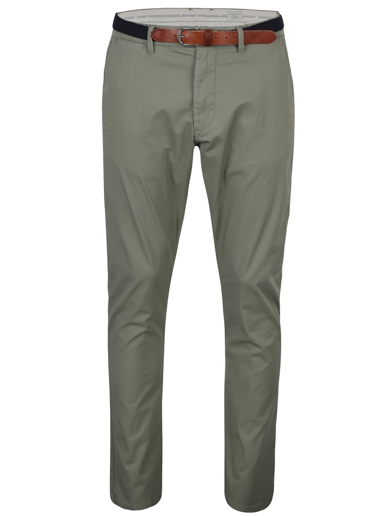 Khaki chino kalhoty s páskem Selected Homme Hyard