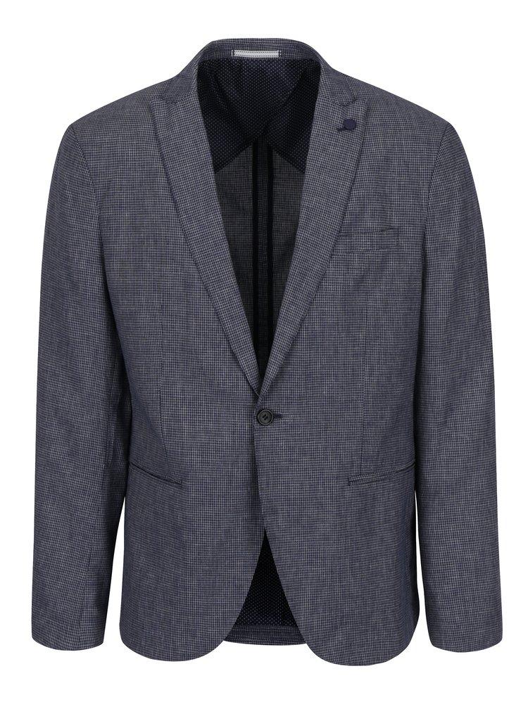 Tmavě modré vzorované sako s příměsí lnu Selected Homme Done Bai