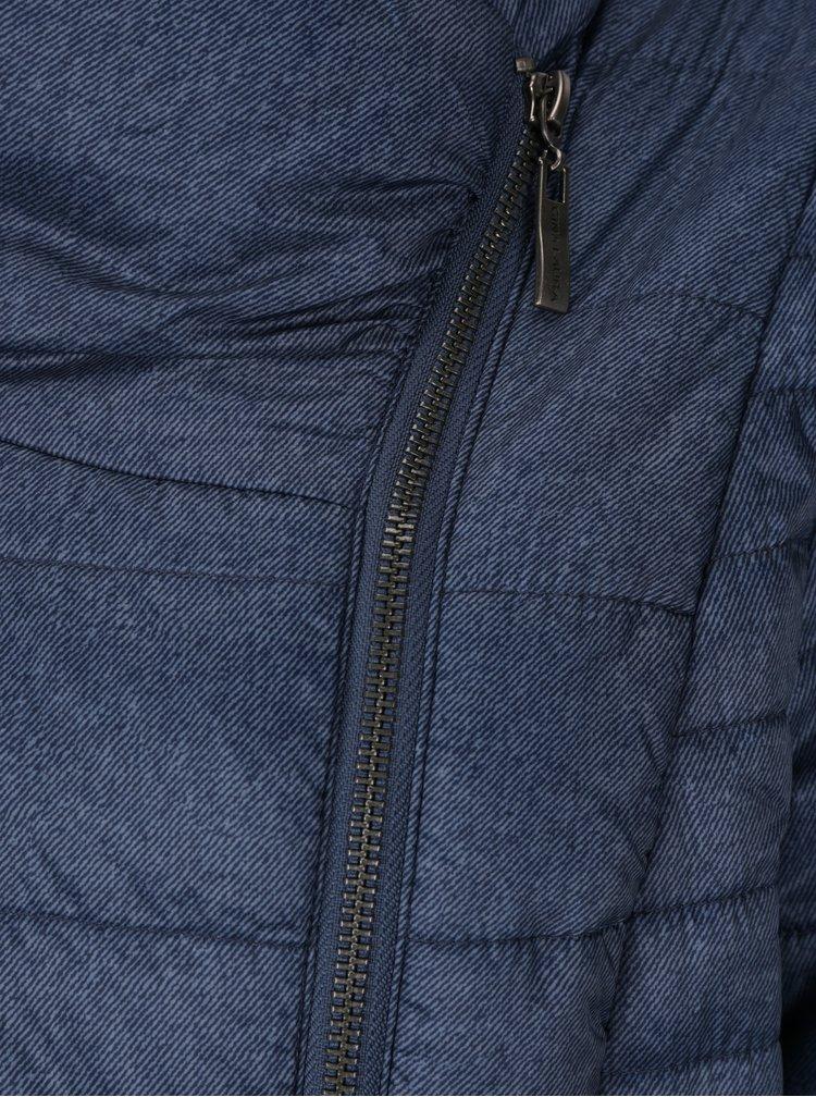 Geaca matlasata albastra cu inchidere asimetrica Gina Laura