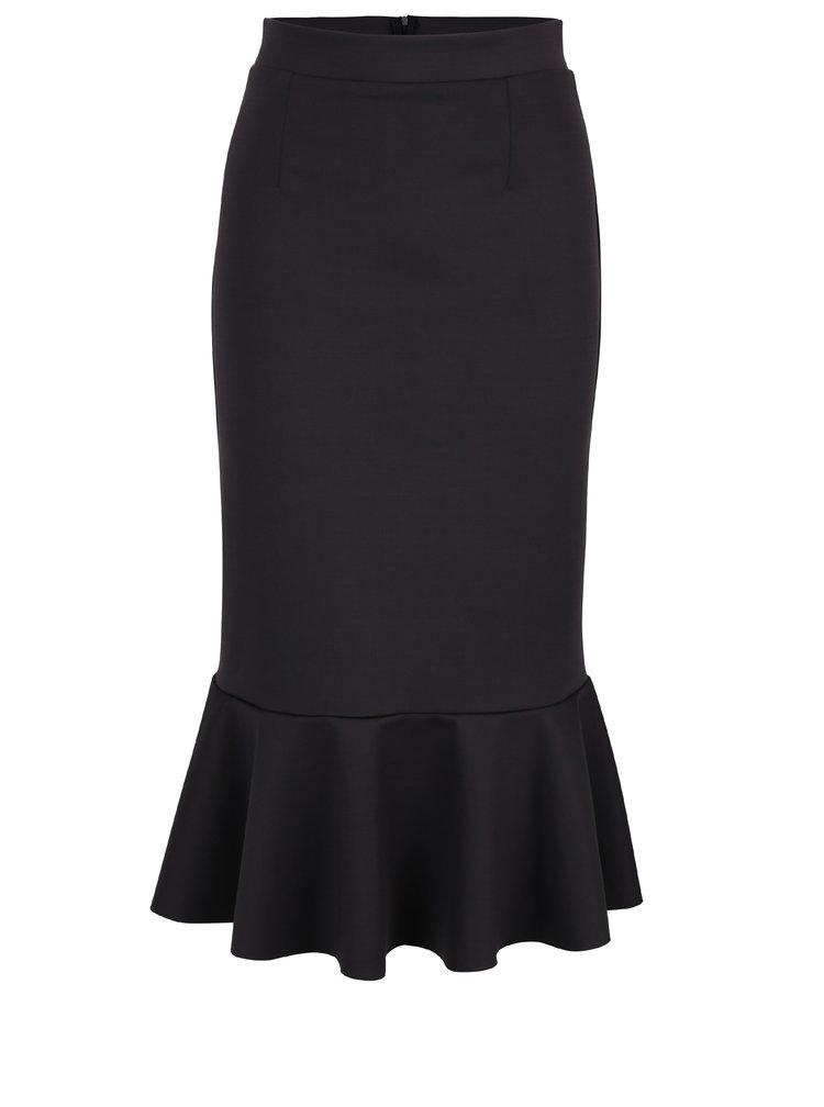 Tmavě šedá pouzdrová midi sukně s volánem Bluzat