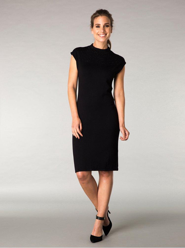 Rochie neagra tricotata fin cu aplicatii discrete - Yest
