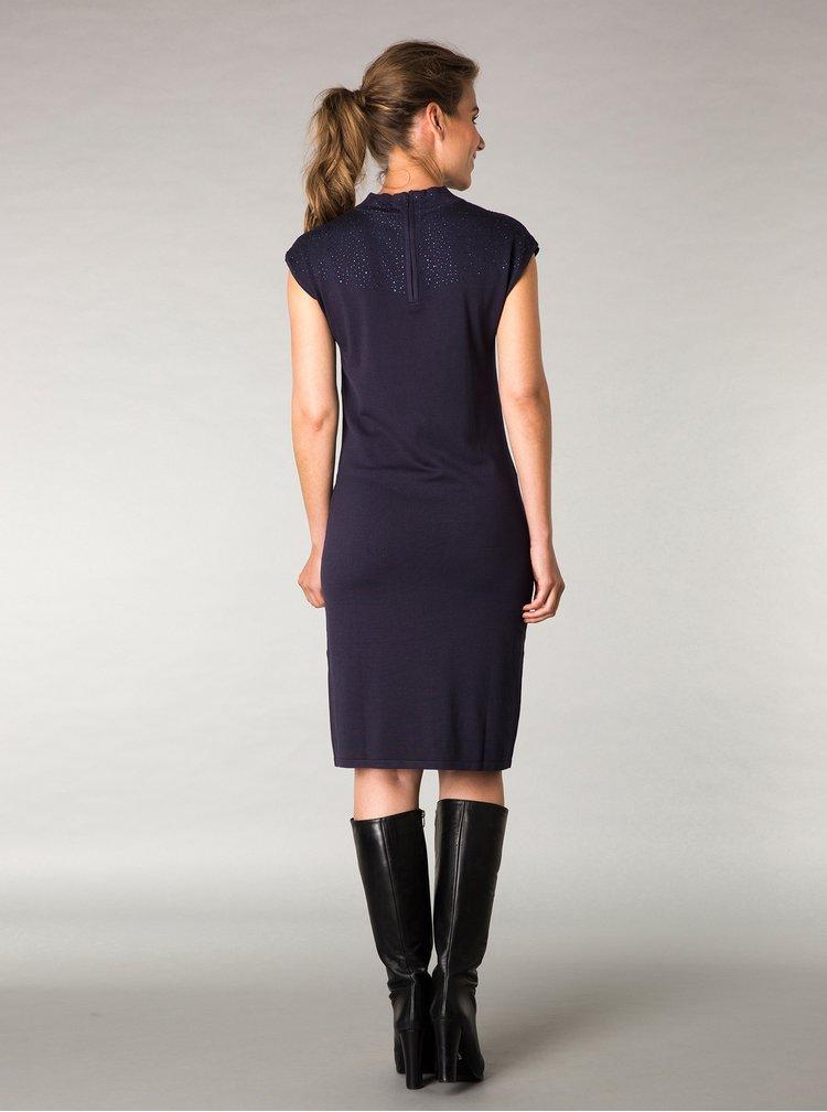 Tmavě modré šaty s aplikací Yest