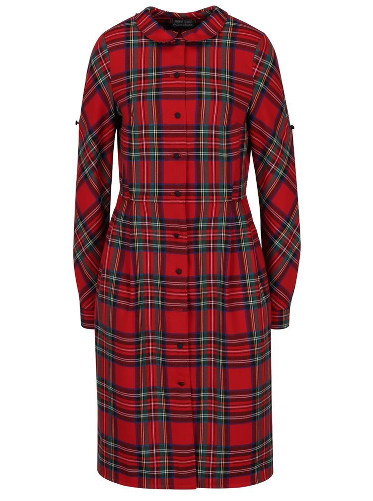 Červené kostkované šaty s límečkem Bohemian Tailors Carola