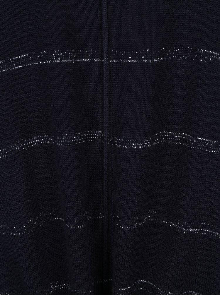 Pulover bleumarin cu dungi argintii si elastic in talie Gina Laura