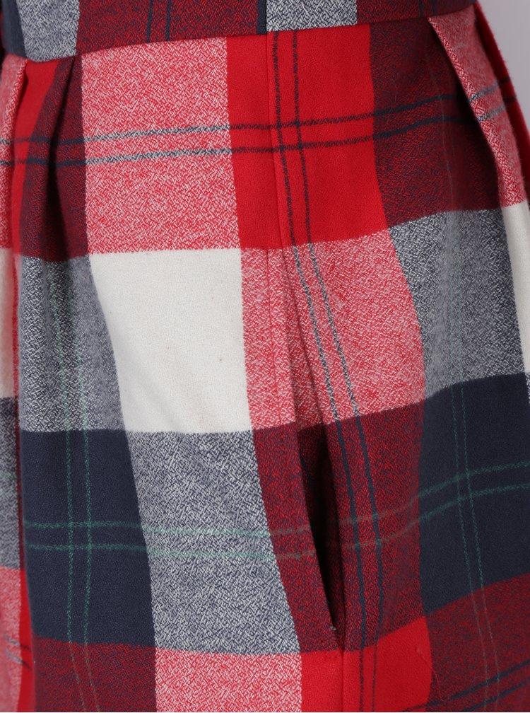 Modro-červené kostkované šaty s límečkem Bohemian Tailors Carola