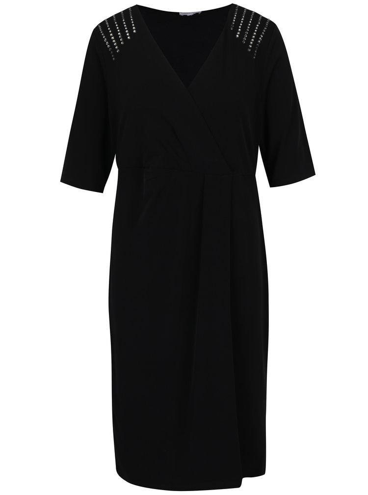 Černé šaty s překládaným výstřihem Gina Laura