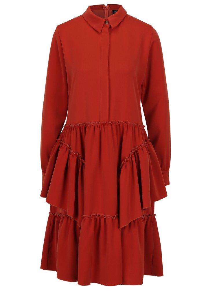 Červené šaty s volány Bluzat