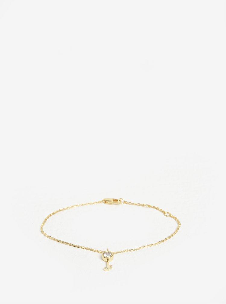 Náramek s přívěškem klíče ve zlaté barvě Pieces Anchor