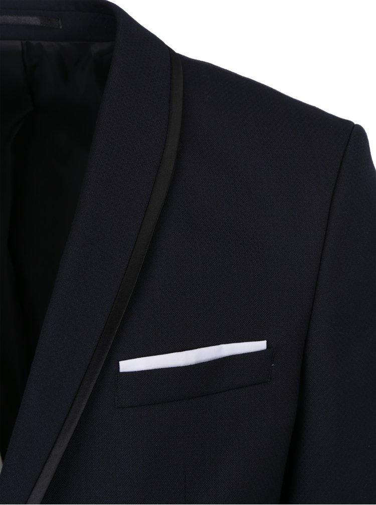 Sacou bleumarin din amestec de lana cu batista decorativa  Selected Homme Done-Tux