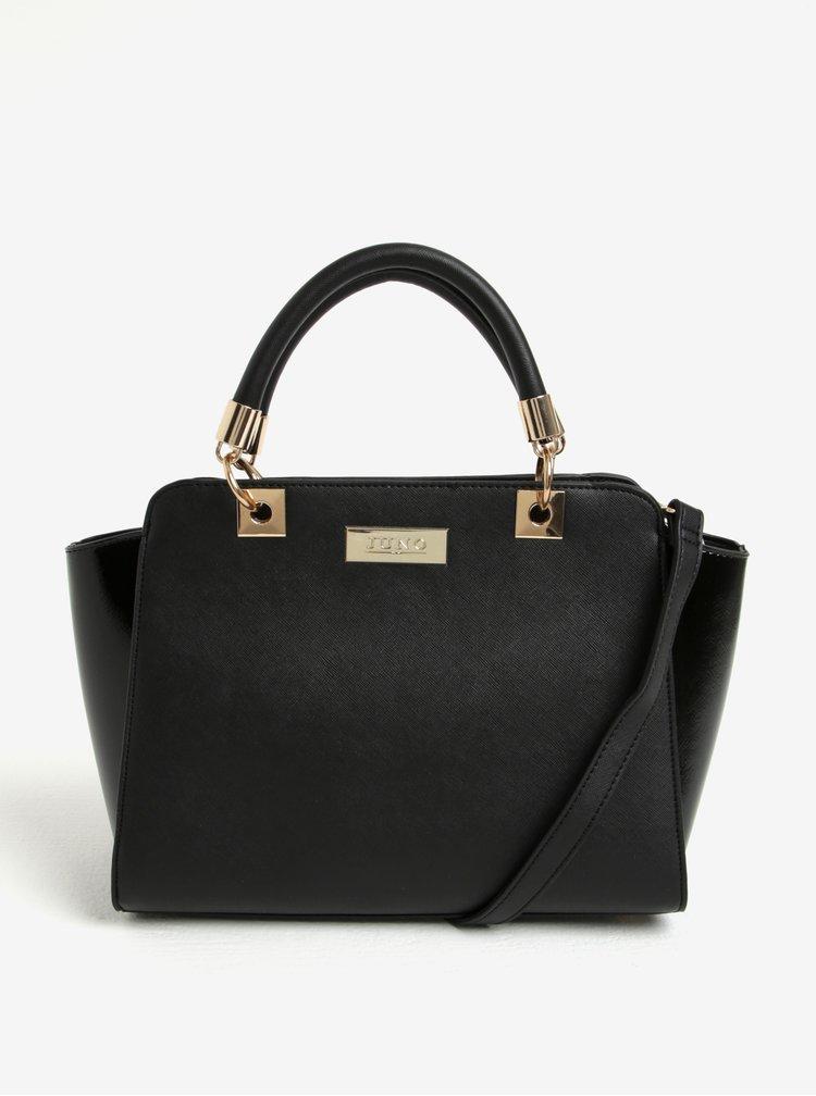 Černá kabelka do ruky s lesklými boky Juno