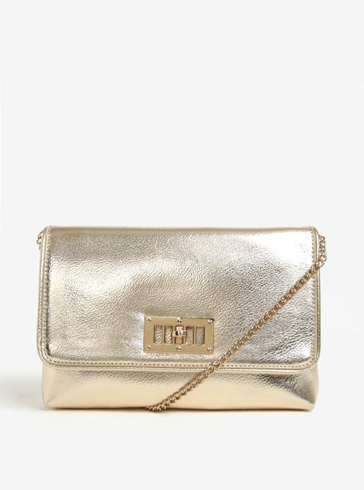 Metalická listová kabelka v zlatej farbe s retiazkou Juno