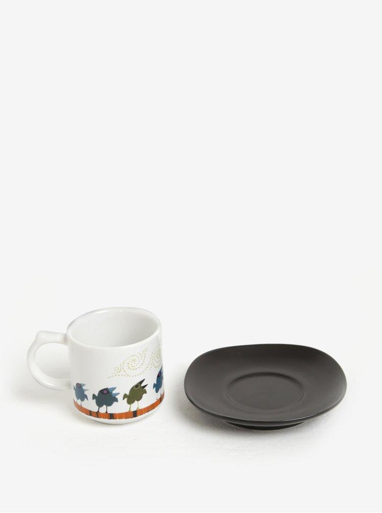 Ceasca mica de espresso cu farfurie neagra - Magpie Family of Birds Espresso Cup & Saucer Family