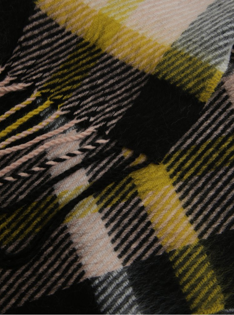 Fular negru&galben in carouri cu franjuri Miss Selfridge