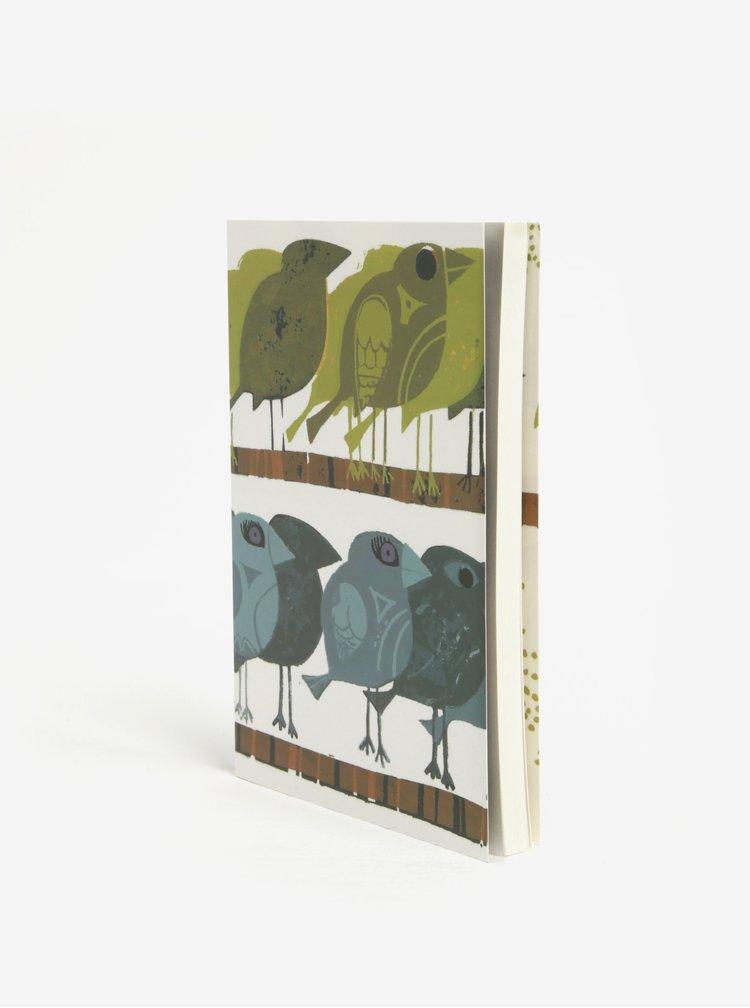 Zápisník s motivem ptáků v zelené a modré barvě Magpie Family of Birds