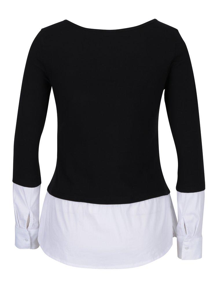 Černé tričko s všitou košilí TALLY WEiJL