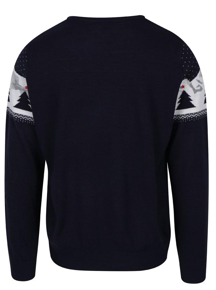 Tmavě modrý svetr s vánočním motivem Burton Menswear London