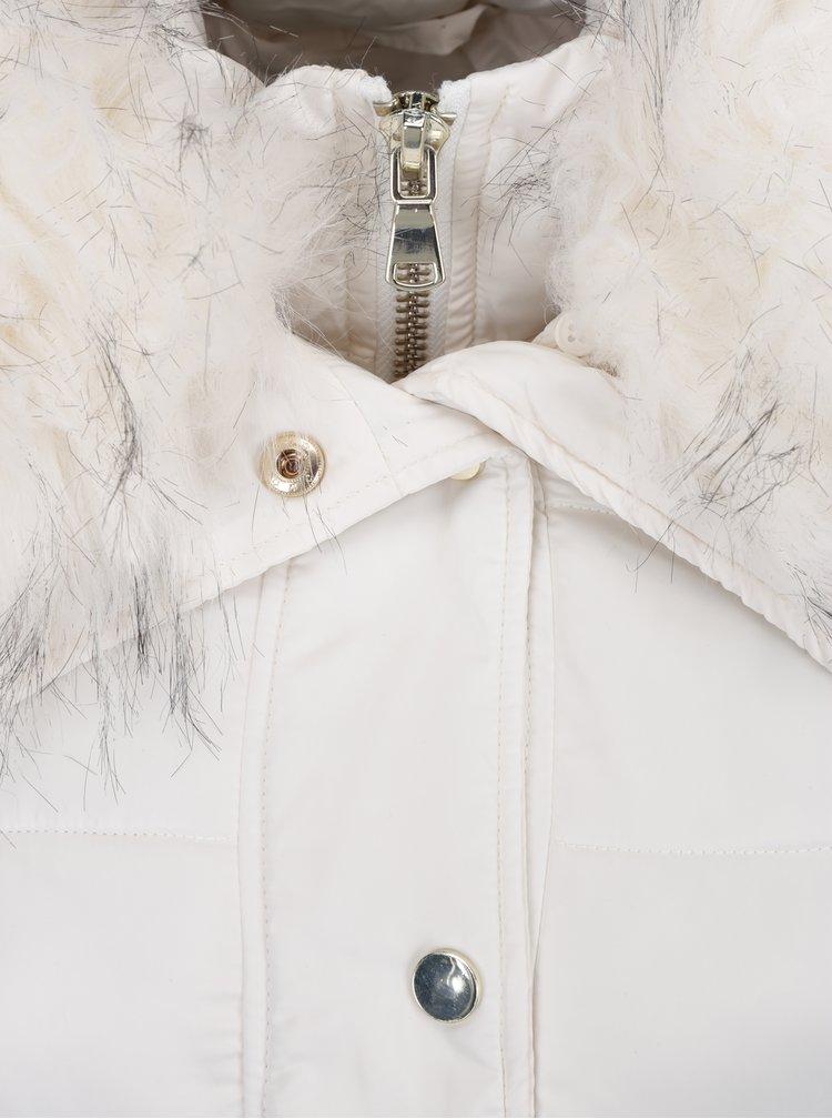 Krémový zimní prošívaný kabát s umělou kožešinou Miss Selfridge