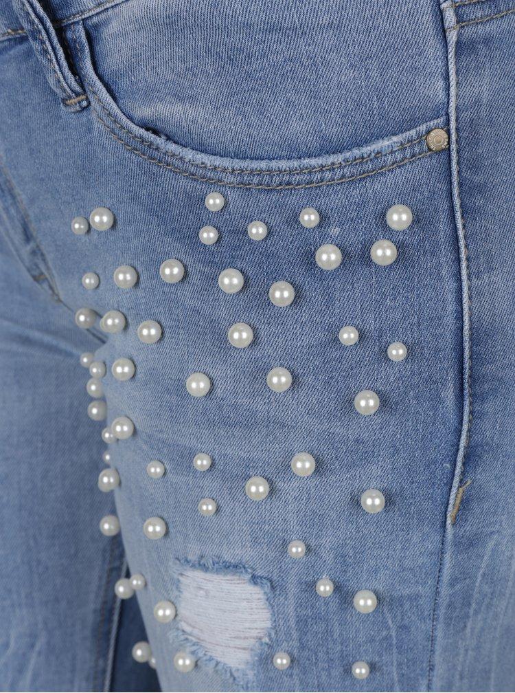 Blugi skinny albastru deschis cu aspect deteriorat si aplicatii decorative TALLY WEIJL