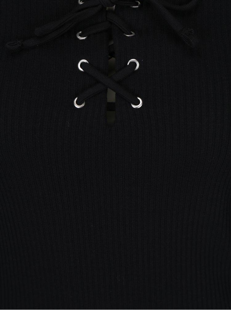 Černé žebrované tričko se šněrováním Miss Selfridge