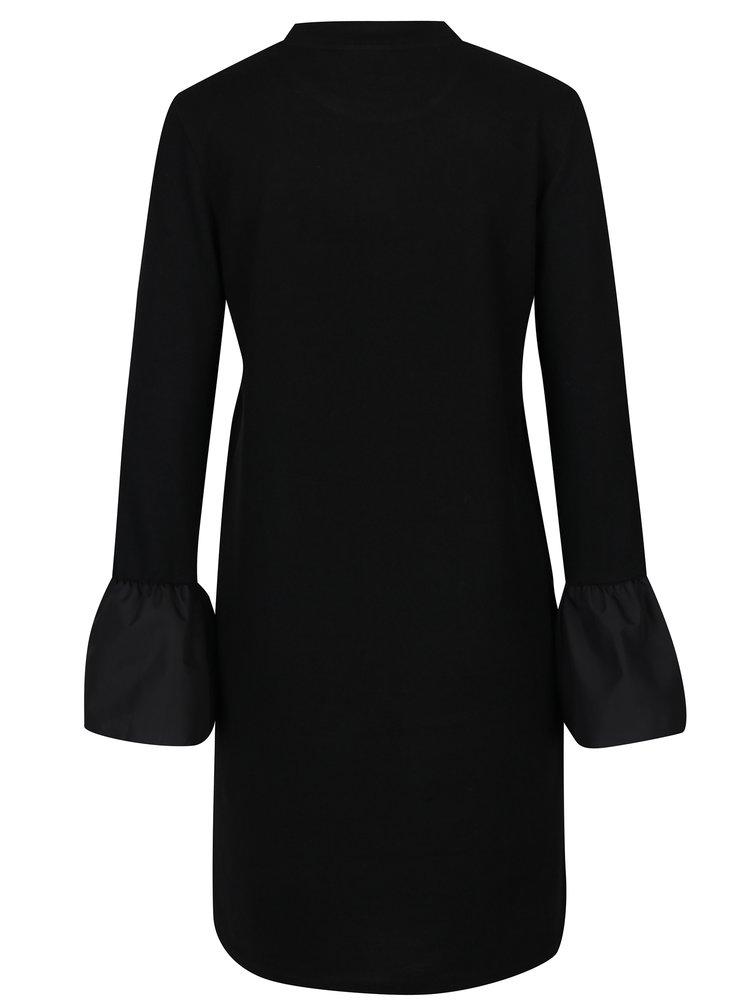 Černé svetrové šaty s dlouhým zvonovým rukávem Noisy May Nadine