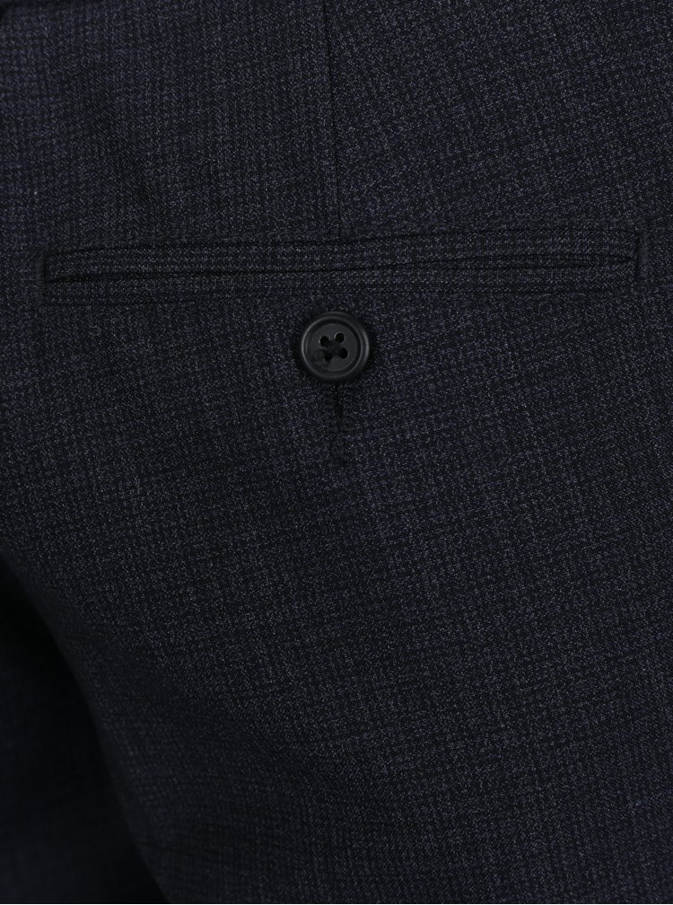Tmavě modré žíhané formální slim fit kalhoty Burton Menswear London