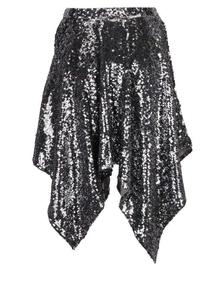 Sukně s prodlouženými cípy a flitry ve stříbrné barvě Miss Selfridge