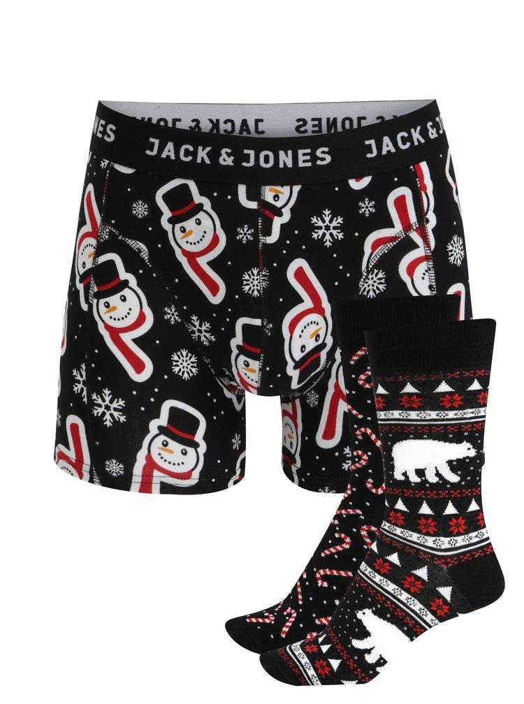 Súprava dvoch párov ponožiek a boxeriek v čiernej farbe Jack & Jones X-MAS