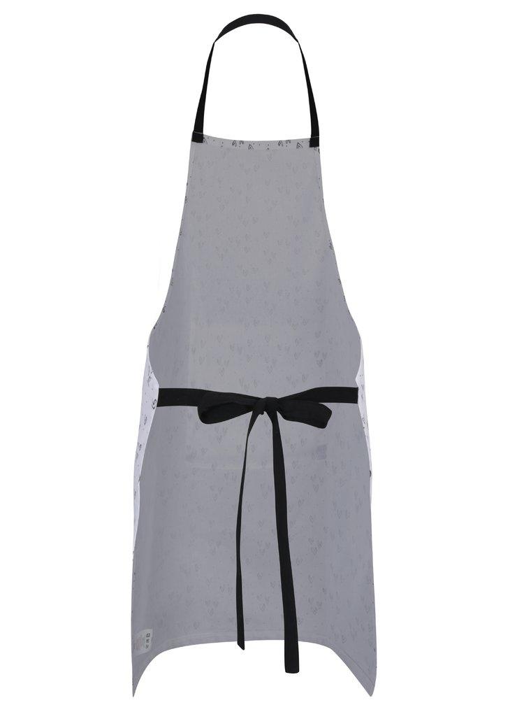 Černo-bílá kuchyňská zástěra s kapsou SIFCON