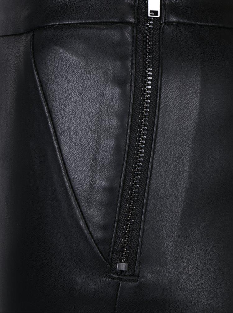 Černé koženkové kalhoty se zipem na boku ONLY Dallas