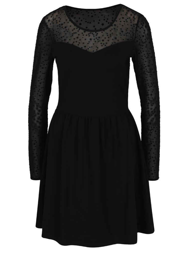 Černé šaty s dlouhým rukávem ONLY Niella