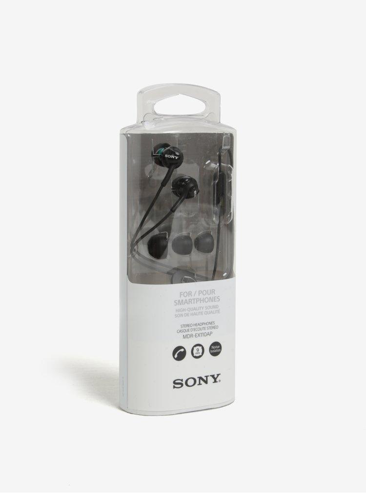 Černá špuntová sluchátka s mikrofonem Sony