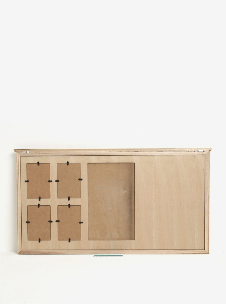 Nástěnná dřevěná tabule s věšáky, fotorámečky a popisovací tabulí SIFCON