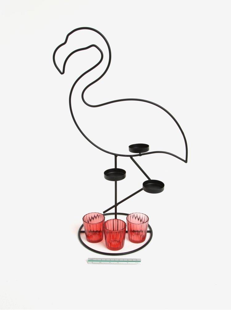 Černý svícen na čajové svíčky ve tvaru plameňáka SIFCON