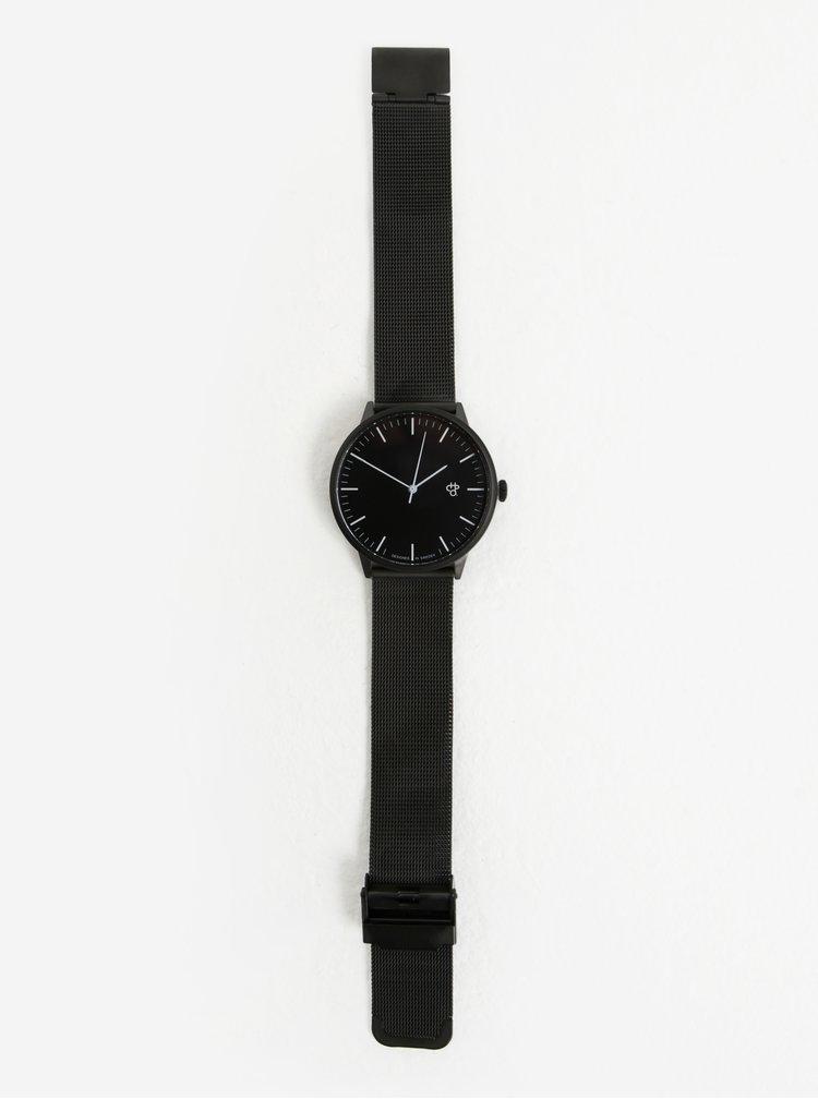 Hodinky s černým nerezovým páskem CHPO Nando Noir
