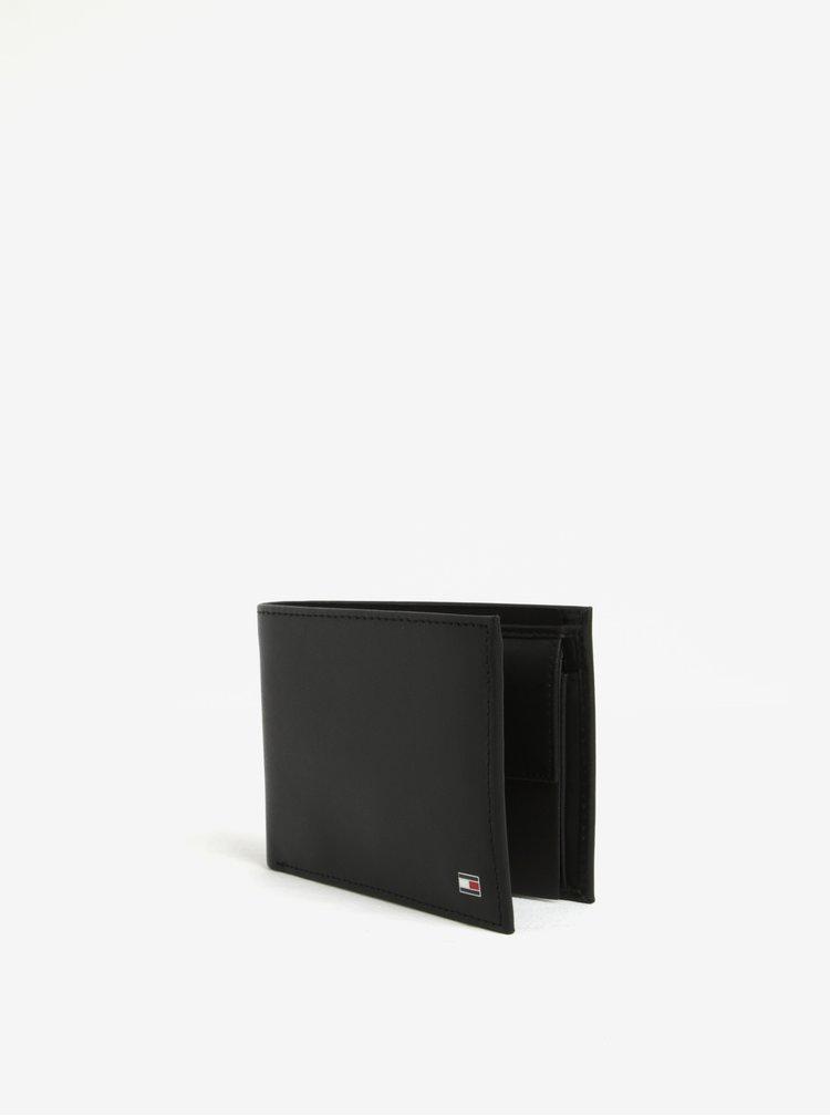 Set pánské kožené peněženky a klíčenky v černé barvě a dárkové krabičce Tommy Hilfiger Eton